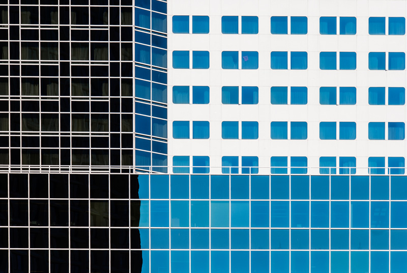 Lines and shapes: elements of design at work. Modern buildings in downtown Vancouver, B.C.