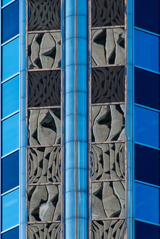Lines, shapes, color and reflections in modern building, Vancouver, B.C.