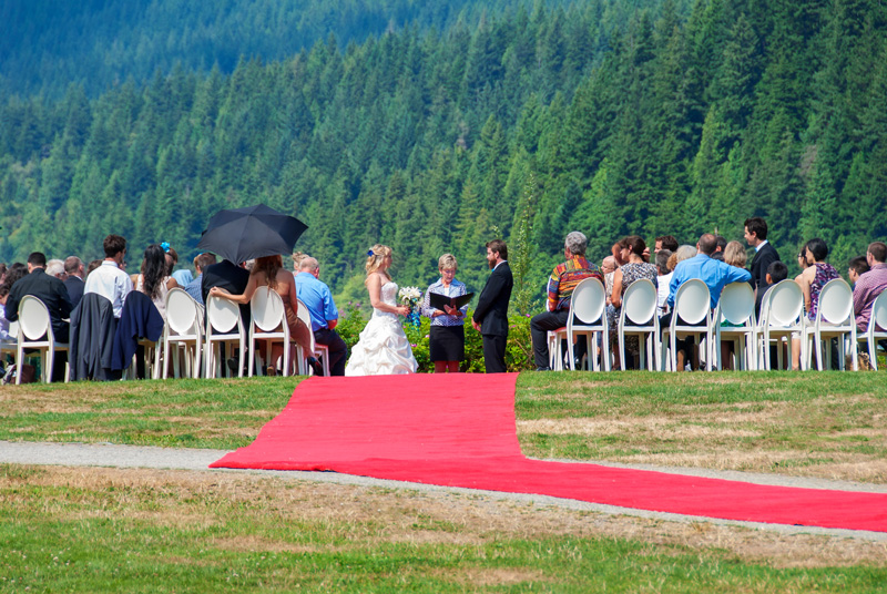 Outdoor wedding ceremony in Capilano River Park.