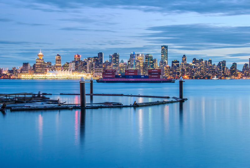 Downtown Vancouver after sunset, seen from North Vancouver.
