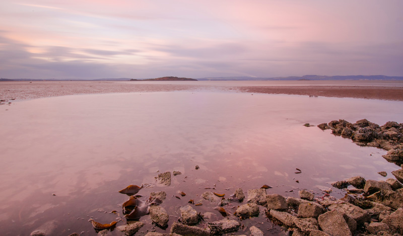 Silverknowes beach, Edinburgh, sometime after sunset.