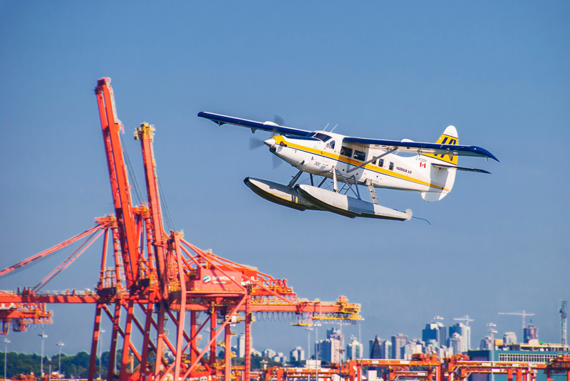 Seaplane taking of from Vancouver harbour.