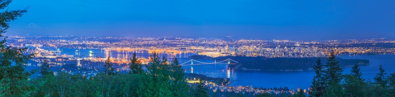 Vancouver by night panorama, taken from Cypress View Point