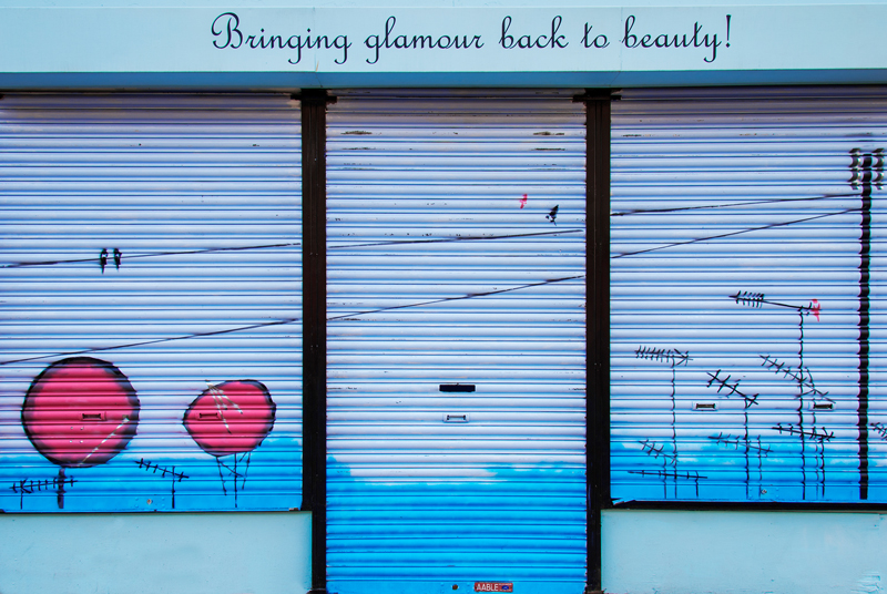 Blue beauty shop front on Leith Walk, Edinburgh