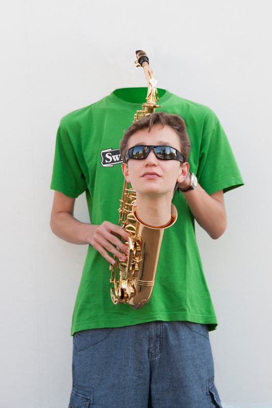 Headless saxophone player Photoshop montage