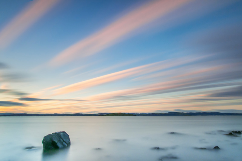 Edinburgh, Silverknowes beach long exposure photograph of Firth of Forth after sunset