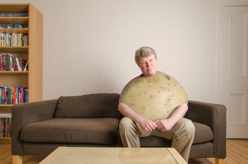 Philippe Monthoux as couch potato, Photoshop composite of Philippe on a couch and a potato