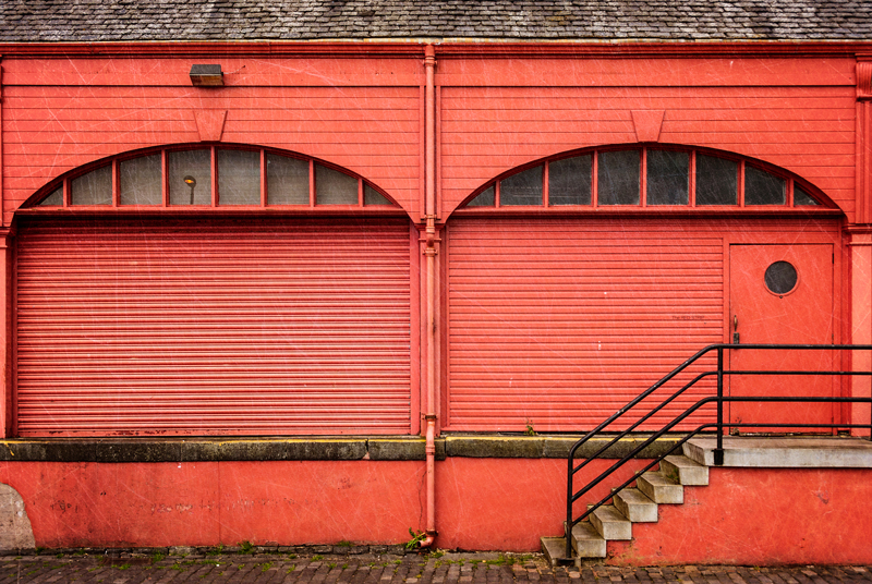 Newhaven, Edinburgh red warehouse with stairs