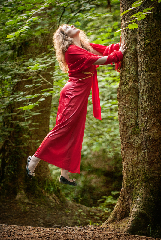 Model levitation in the forest, Blackford Hill, Edinburgh