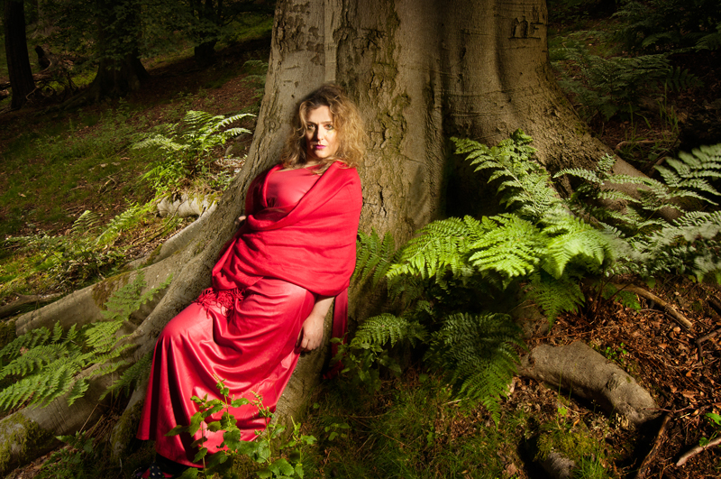 light painting of actress and model Electra Gouni in the forest of Blackford Hill, Edinburgh