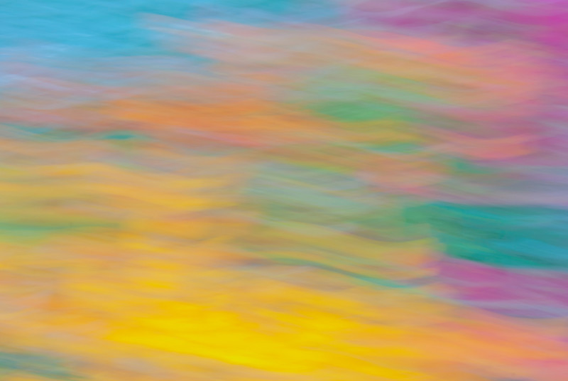 Colour abstract obtained by moving the camera over a bed of flowers during a long exposure