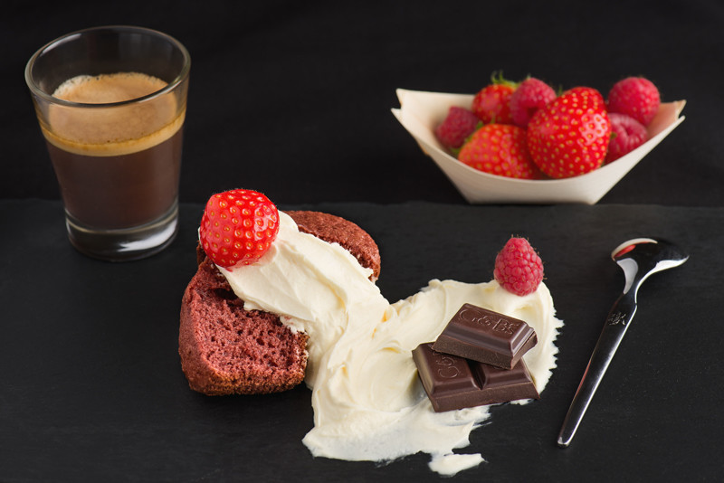 Red velvet cupcake with strawberries, mascarpone cream, dark chocolate and some Italian coffee