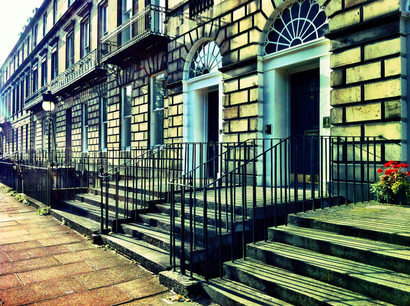 Heriot Row, Edinburgh. Crossed processed film look, taken on iPhone