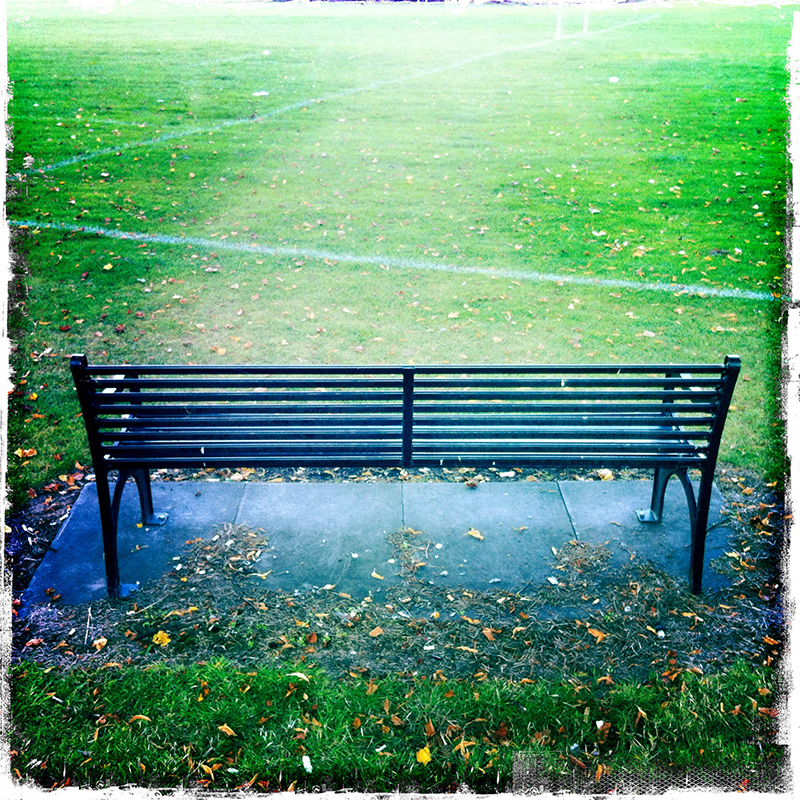 Bench in Edinburgh park, iPhone and Hipstamatic