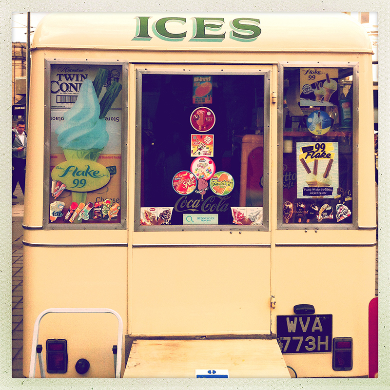 ice cream van on Princes Street, Edinburgh. iPhone Oggl vintage look.