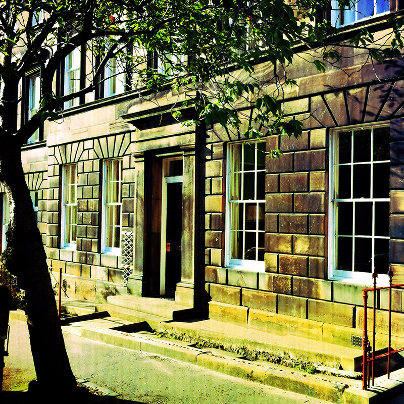 Lutton Place, Edinburgh and a wood texture combined with the Diana Photo app on iPhone.