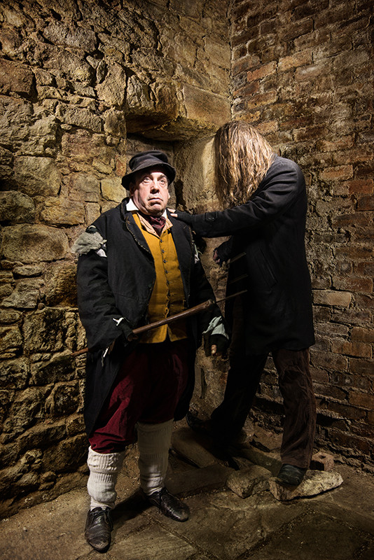 Light painting of infamous Edinburgh murderers William Burke and William Hare in the vaults