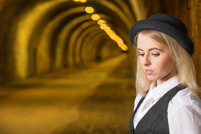 Introspective model with Innocent Railway Tunnel, Edinburgh as background
