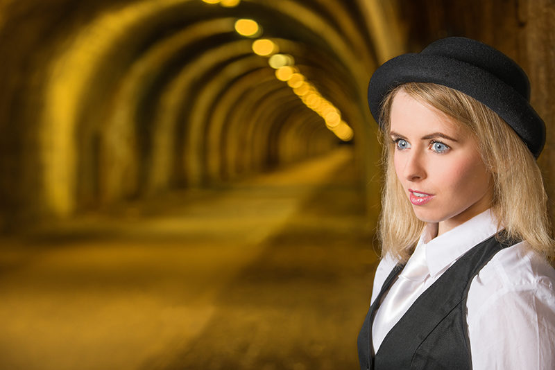 Model with Innocent Railway Tunnel, Edinburgh as background