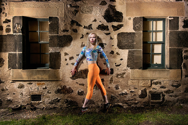 Light painting of dancer on Calton Hill, Edinburgh, Scotland