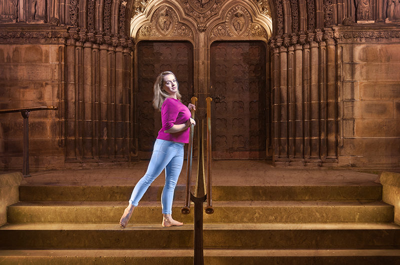 Light painting of model in front of St Giles cathedral on the Royal Mile in Edinburgh, Scotland