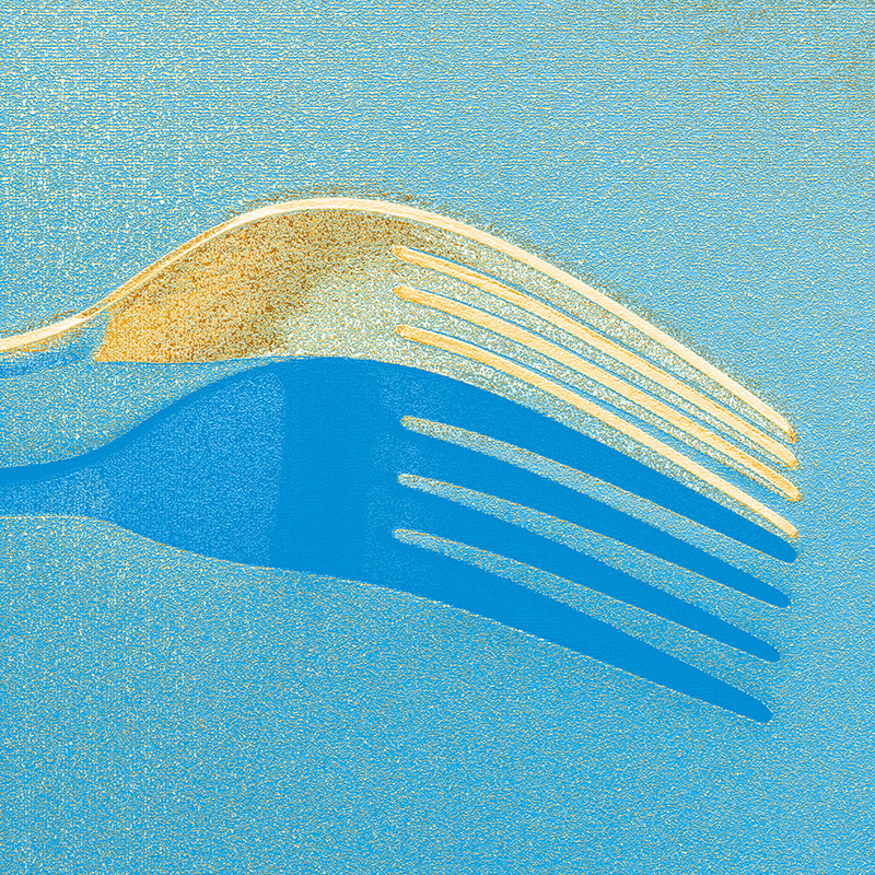 Fork and reflection edited using the Photoshop Gradient Map tool and the addition of a texture  filter from the Photoshop filter gallery