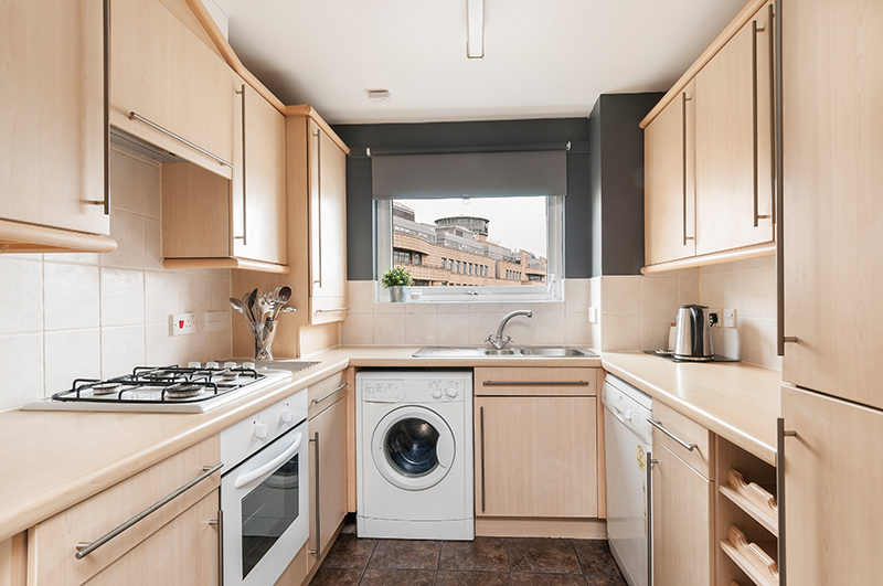 Kitchen in rental flat. Leith, Edinburgh