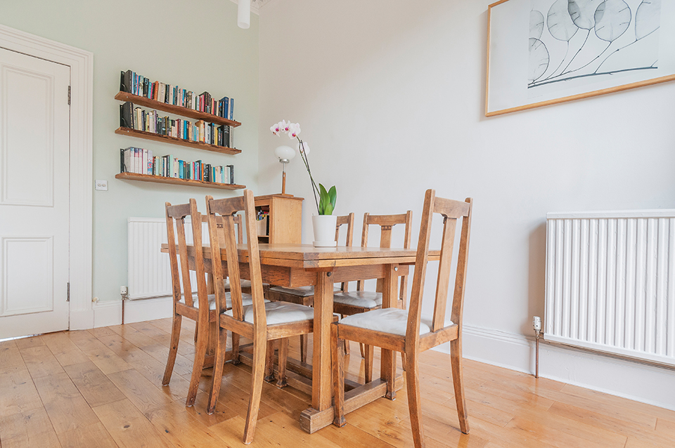Dining area in living room. Stockbridge, Edinburgh