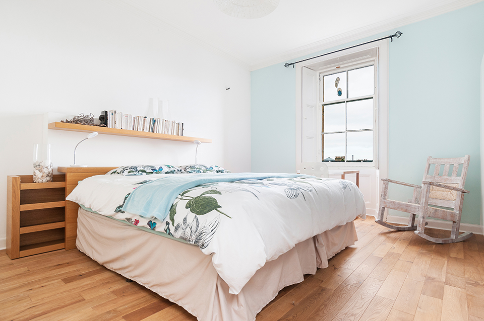 Master bedroom in Stockbridge property, Edinburgh