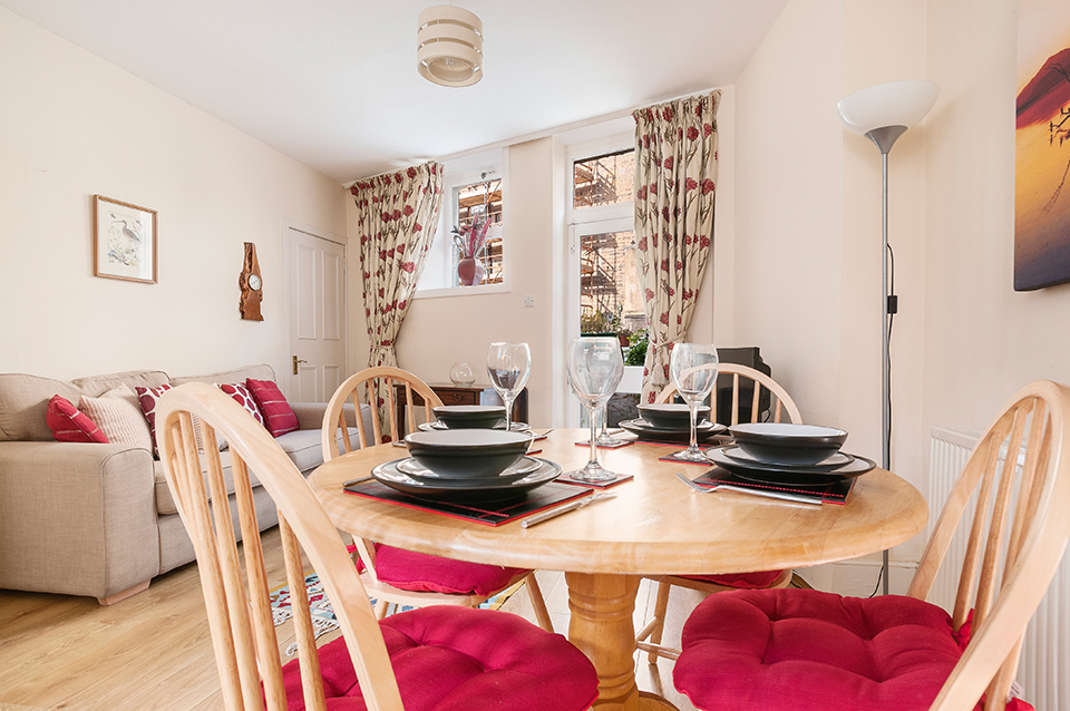 Dining area and living room, holiday let, Edinburgh