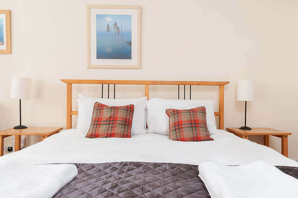 Close up of double bed, holiday let, Edinburgh