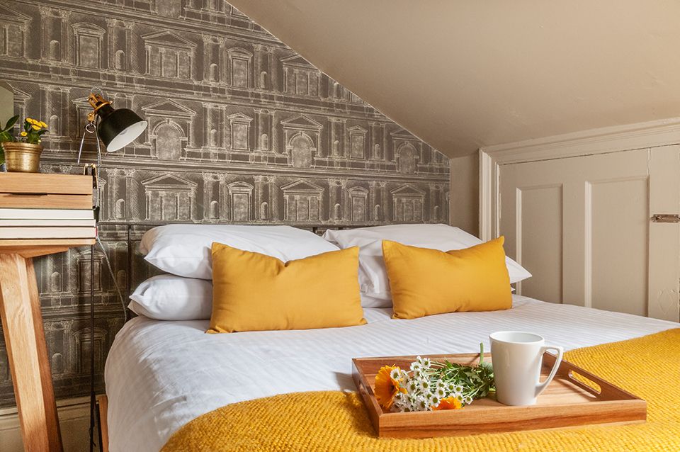 Detail of Edinburgh hotel room interior designed by Skela Studio