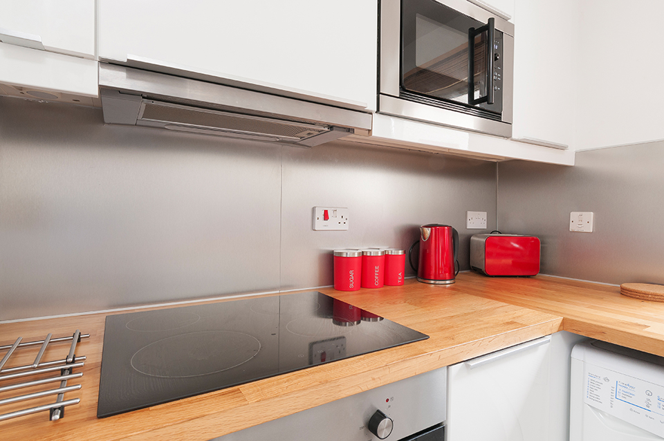 Interior photograph of kitchen counter on Polwarth Terrace, Edinburgh
